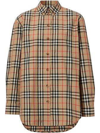 Burberry Button-Down Collar Vintage Check Cotton Shirt Ss20 | Farfetch.com