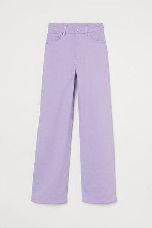 Wide-leg Twill Pants - Purple