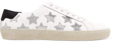 Court Classic Appliquéd Metallic-trimmed Leather Sneakers - White