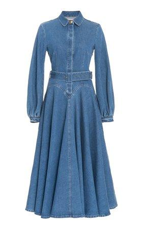 Jewel Puffed Sleeve Denim Dress By Emilia Wickstead   Moda Operandi
