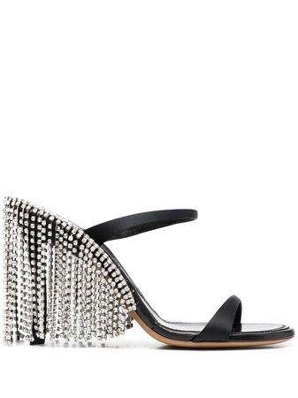 AREA Crystal Fringed Sandals - Farfetch