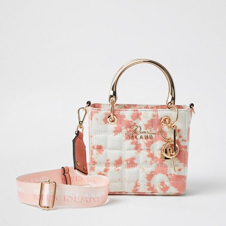 Pink square quilted tote bag | River Island