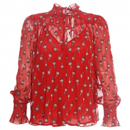 ba&sh Malawi Red Printed high neck Blouse, From Morgan Clare Online