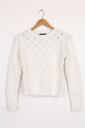 White Cable Knit Sweater - Pierced Sweater - Pullover Sweater - Lulus