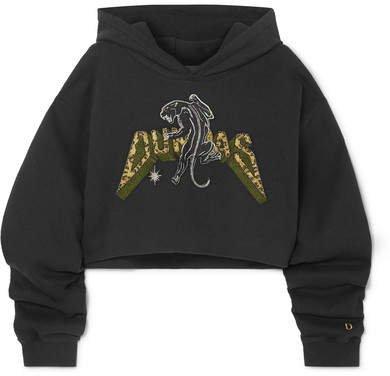 Dundas - Cropped Appliquéd Cotton-jersey Hoodie - Black