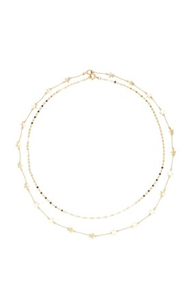 Set-Of-Two Boys Tears and Starry Night 9K Gold Necklaces by LiL Milan | Moda Operandi