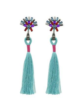 Green Rhinestone Handmade Long Tassel Drop Earrings