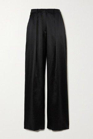 Pleated Silk-satin Wide-leg Pants - Black