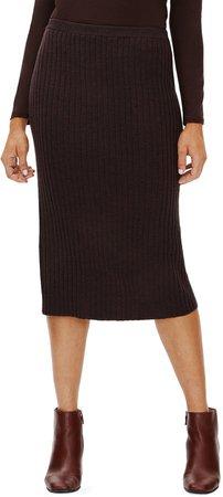 Merino Wool Ribbed Pencil Skirt