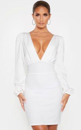 White Balloon Sleeve Plunge Bodycon Dress | PrettyLittleThing