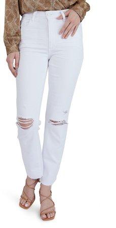 Noella Ripped High Waist Raw Hem Jeans