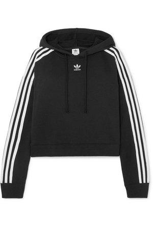 adidas Originals | Cropped striped cotton-jersey hoodie | NET-A-PORTER.COM