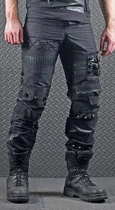 Male edgy leather pants