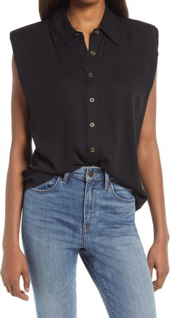 Shoulder Pad Sleeveless Button-Up Top