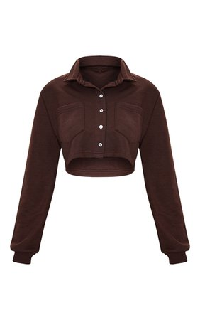Chocolate Collar Button Front Crop Polo Shirt   PrettyLittleThing USA