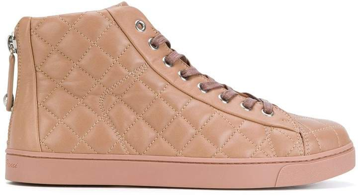 Quilted Lace-Up Hi Tops