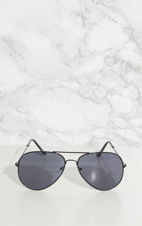 Black Metal Aviator Sunglasses | Accessories | PrettyLittleThing