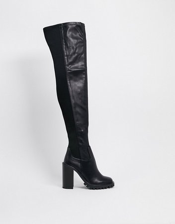 ASOS DESIGN Katherine chunky thigh high boots in black | ASOS