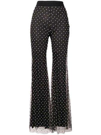 Amen crystal embellished flared trousers - Black