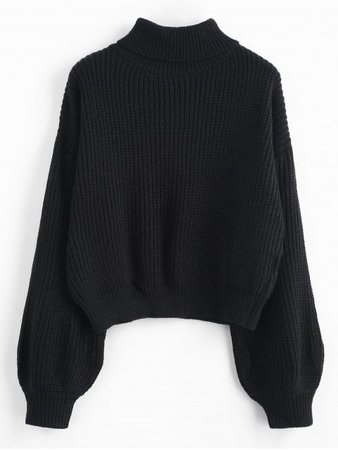 [54% OFF] 2019 Turtleneck Lantern Sleeves Chunky Sweater In BLACK | ZAFUL ..