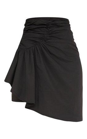 Black Woven Ruched Drape Front Mini Skirt | PrettyLittleThing USA