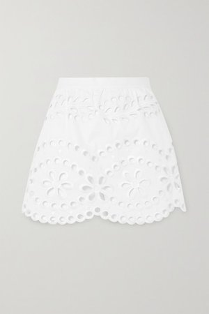 Layered Broderie Anglaise Cotton Shorts - White
