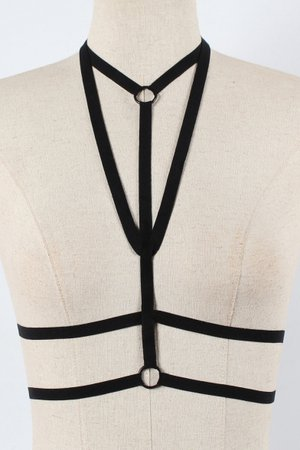 Halter Plain Hollow Out Straps Sexy Harness Bra Top - Beautifulhalo.com