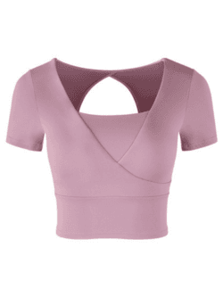 'Joyce' Cut-out Wrap Cropped Yoga Top (3 Colors) - Goodnight Macaroon