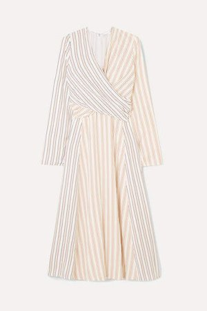 Wrap-effect Striped Crepe Midi Dress - Ivory