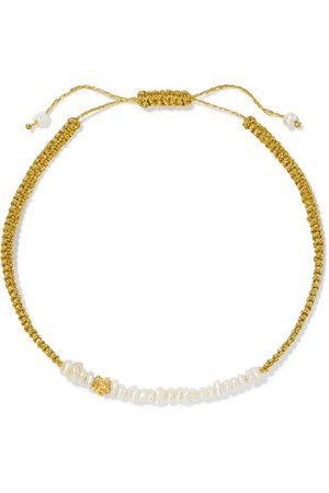 Pacharee | + Pach Tach pearl, Lurex and gold-plated bracelet | NET-A-PORTER.COM