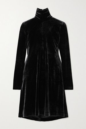 Stretch-velvet Turtleneck Mini Dress - Black