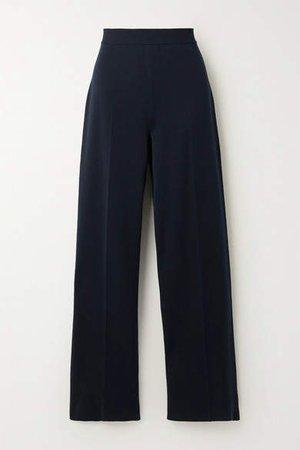 Silk And Cotton-blend Wide-leg Pants - Navy