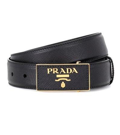 Leather logo plaque belt