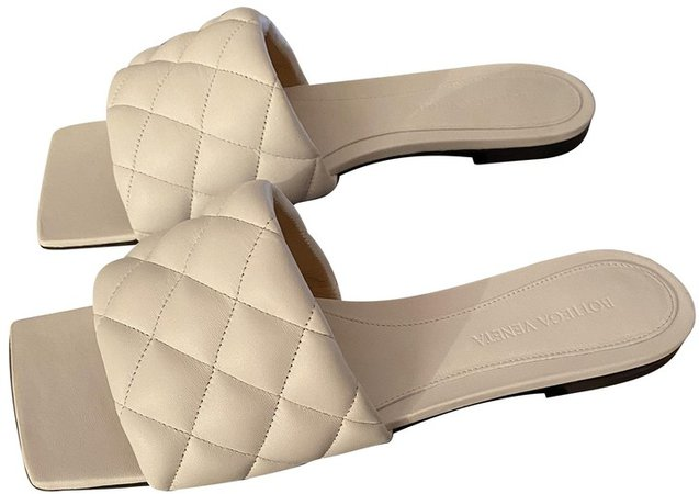 Padded White Leather Sandals