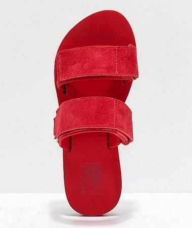 Vans Cayucas Red 2 Strap Slide Sandals | Zumiez