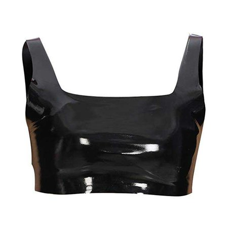 malianna Women Black PU Leather Cropped Bandeau Summer Strapless Crop Stretch Wrap Top (S) at Amazon Women's Clothing store: