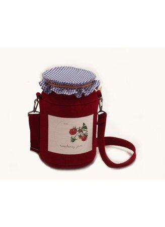 jam purse bag red blue gingham picnic