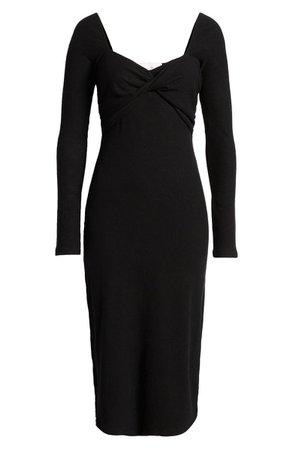 Twist Front Long Sleeve Midi Dress | Nordstrom