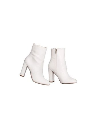 White zip up high heel ankle boots