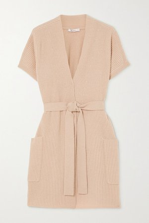 Belted Ribbed Wool And Cashmere-blend Cardigan - Beige