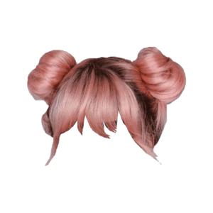 pink hair png space buns bangs
