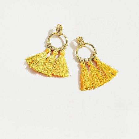 J.Crew: Pavé Tassel Earrings yellow