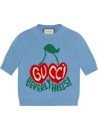 Gucci Beverly Hills cherries intarsia-knit top blue 631467XKBHI - Farfetch