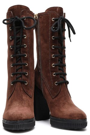 Chocolate Lace-up suede ankle boots   Sale up to 70% off   THE OUTNET   TOD'S   THE OUTNET