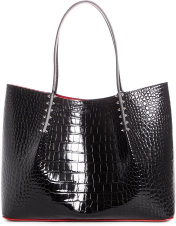 Large Cabarock Croc Embossed Leather Tote