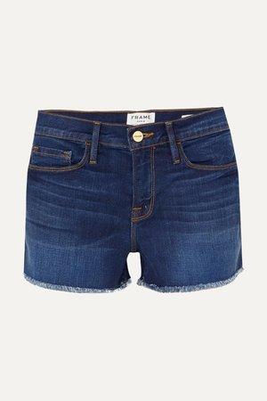 Mid denim Le Cutoff frayed denim shorts | FRAME | NET-A-PORTER