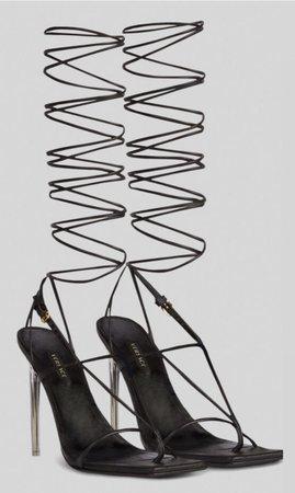 Versace Black Wrap Heels