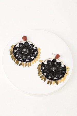 Pretty Crochet Earrings - Floral Earrings - Round Earrings