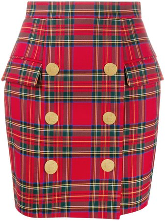 Shop red & green Balmain high-waist check print skirt with Express Delivery - Farfetch