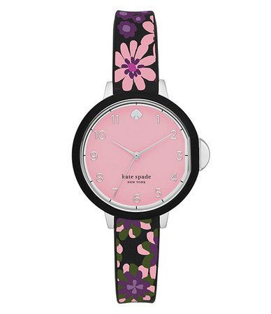 kate spade new york park row three-hand multicolor floral-print silicone watch | Dillard's
